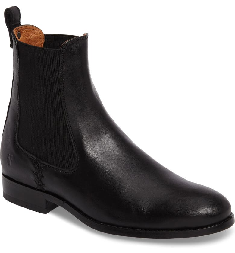 FRYE Melissa Chelsea Boot, Main, color, BLACK LEATHER