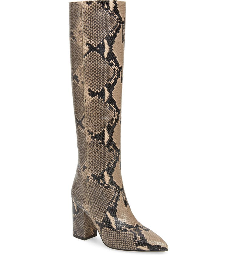 PARIS TEXAS Python Embossed Knee High Boots, Main, color, 201