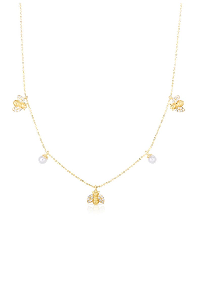 SPHERA MILANO 14K Gold Vermeil Bee & Freshwater Pearl Charm Necklace, Main, color, YELLOW GOLD