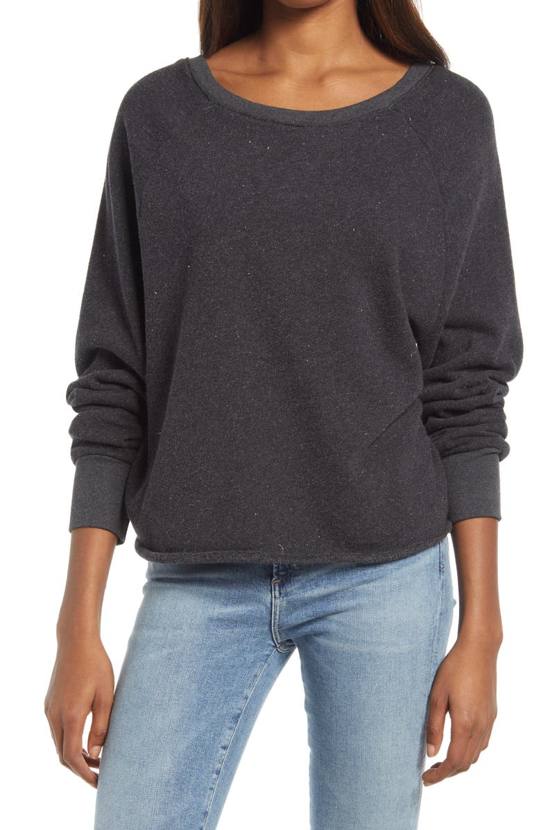 TREASURE & BOND Metallic Sparkle V-Back Sweatshirt, Main, color, CHARCOAL GREY SILVER