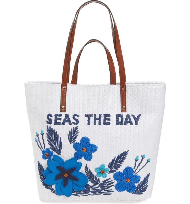 TOMMY BAHAMA Athen - Seas the Day Embroidered Straw Tote, Main, color, 400