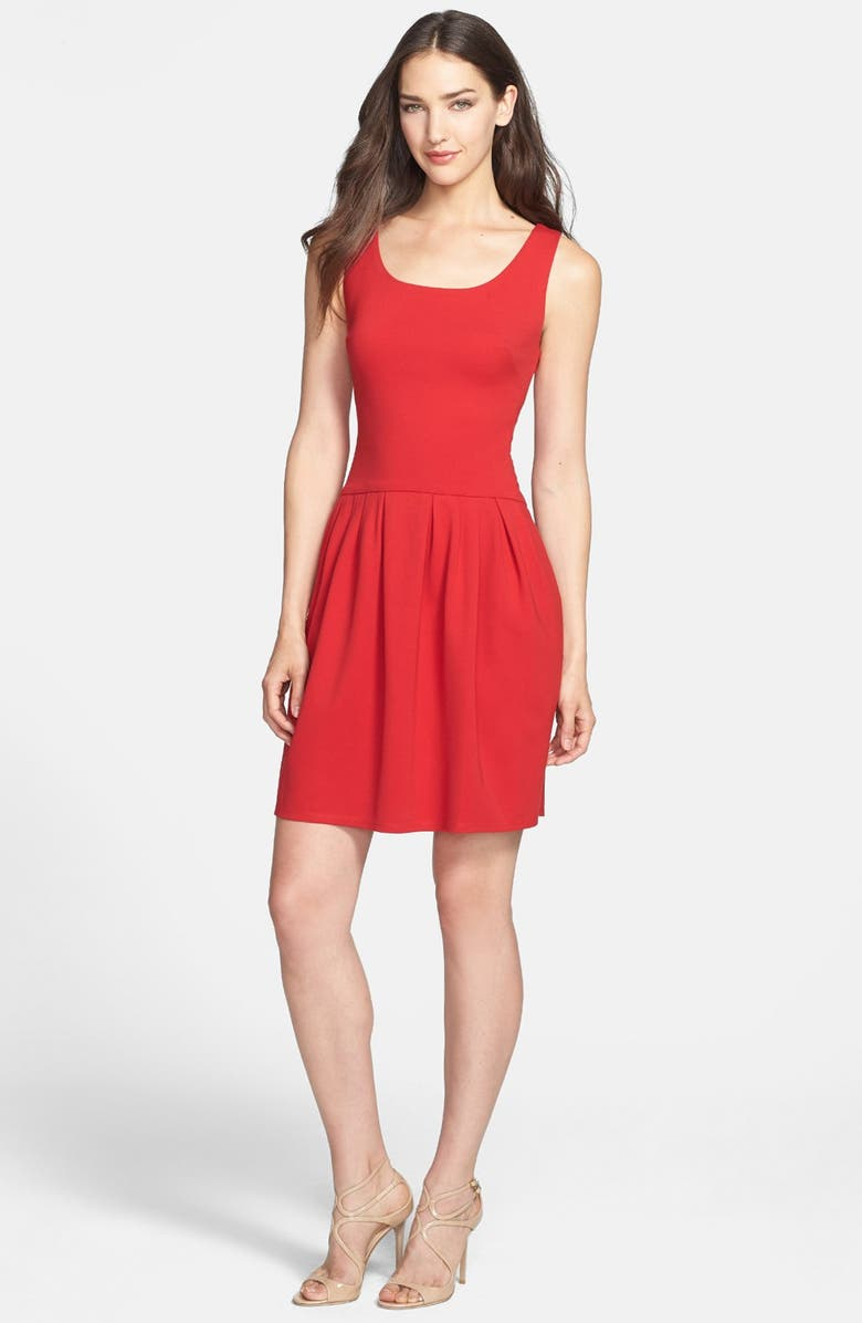 BETSEY JOHNSON Bow Detail Ponte Fit & Flare Dress, Main, color, TOMATO