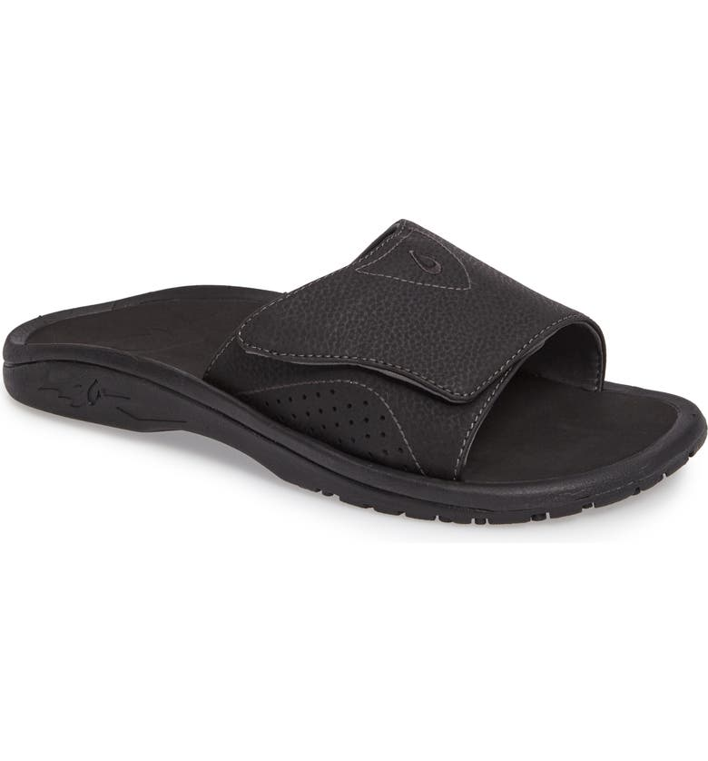 OLUKAI Nalu Slide Sandal, Main, color, BLACK/ BLACK