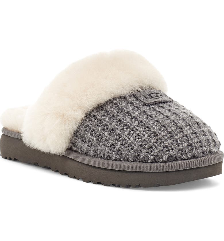 UGG<SUP>®</SUP> Cozy Knit Genuine Shearling Slipper, Main, color, CHARCOAL KNIT