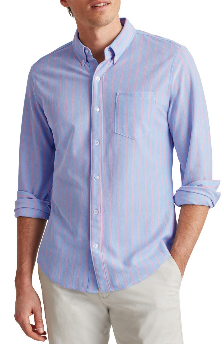 BONOBOS Slim Fit Knit Button-Down Shirt, Main, color, MARINE STRIPE CANNES BLUE