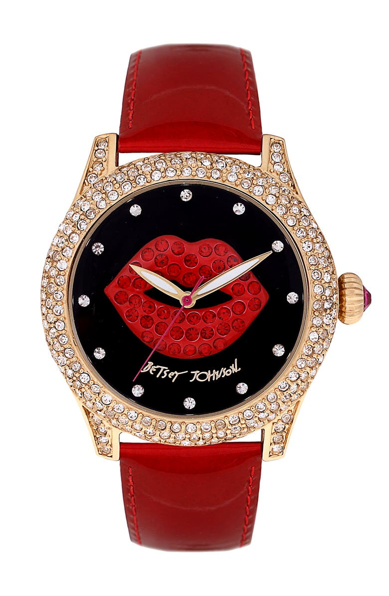 BETSEY JOHNSON Graphic Dial Leather Strap Watch, Main, color, RED