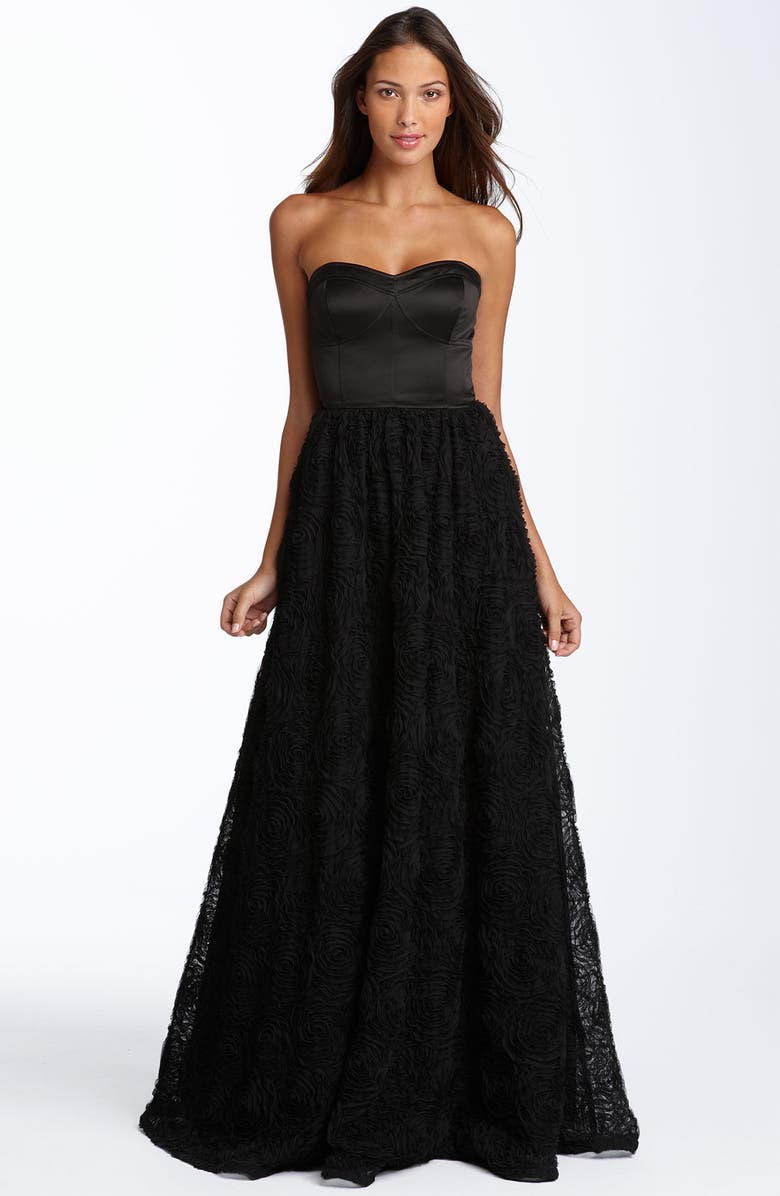 ADRIANNA PAPELL Strapless Rosette Ball Gown, Main, color, BLACK