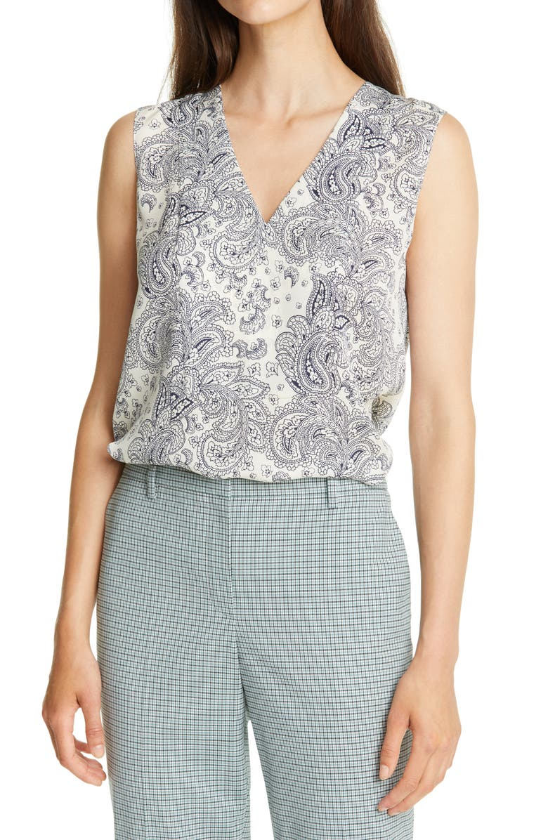 THEORY V-Neck Paisley Silk Shell, Main, color, IVORY MULTI