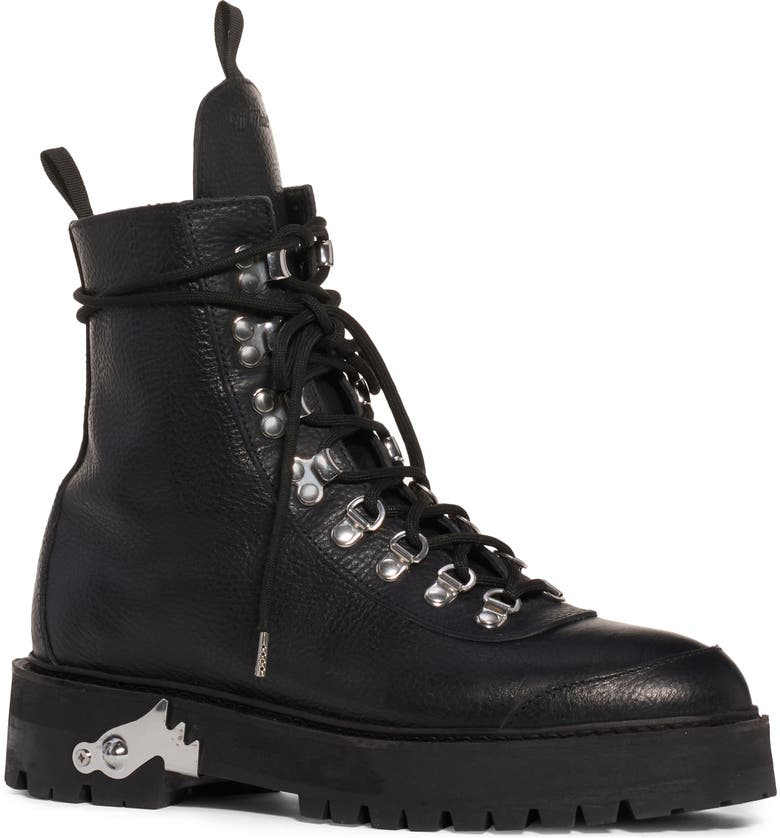 OFF-WHITE Leather Hiking Boot, Main, color, 001