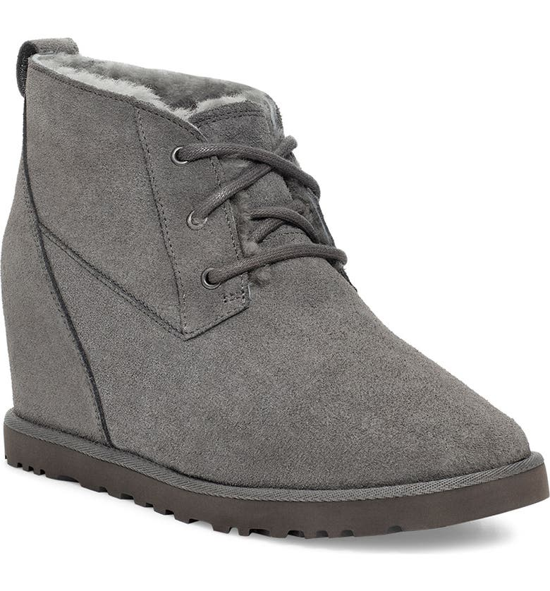 UGG<SUP>®</SUP> Classic Femme Wedge Bootie, Main, color, CHARCOAL SUEDE