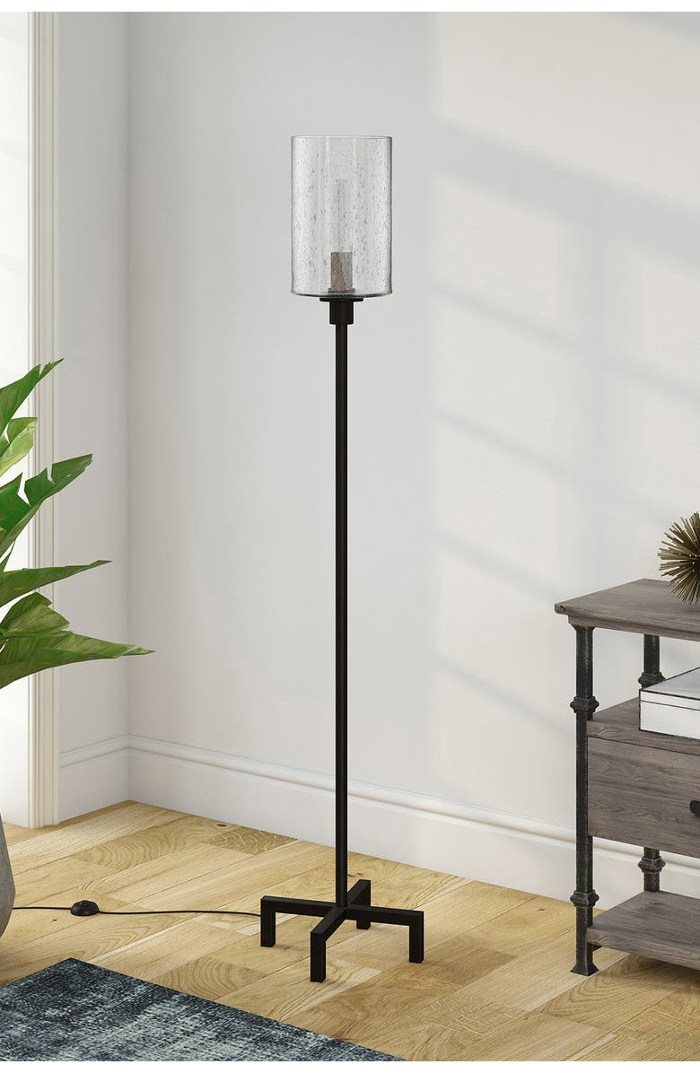 ADDISON AND LANE Panos Floor Lamp with Seeded Glass, Main, color, BLACK