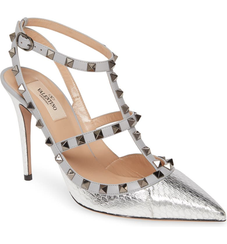 VALENTINO GARAVANI Rockstud Metallic Genuine Snakeskin T-Strap Pump, Main, color, 040