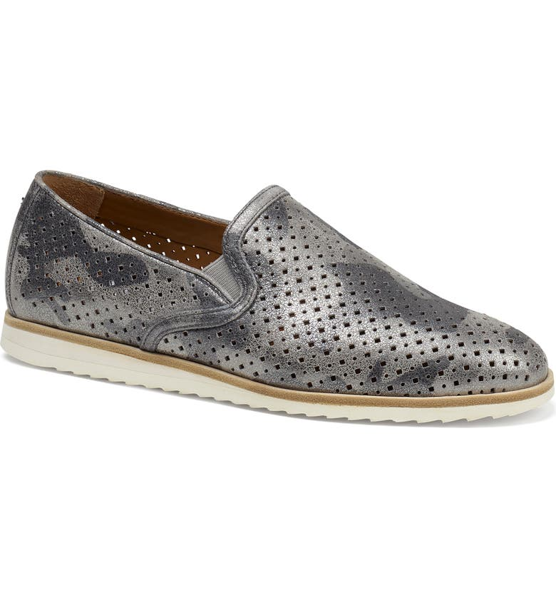 TRASK Andi Perforated Flat, Main, color, PEWTER CAMOUFLAGE SUEDE