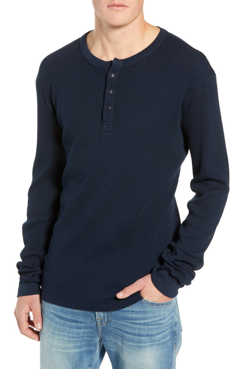 FRAME Slim Fit Long Sleeve Waffle Knit Henley, Main, color, NAVY