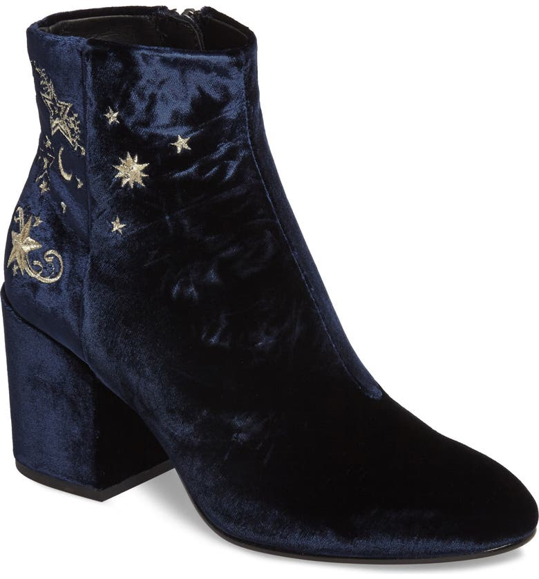 ASH Elixir Embroidered Velvet Bootie, Main, color, MIDNIGHT FABRIC