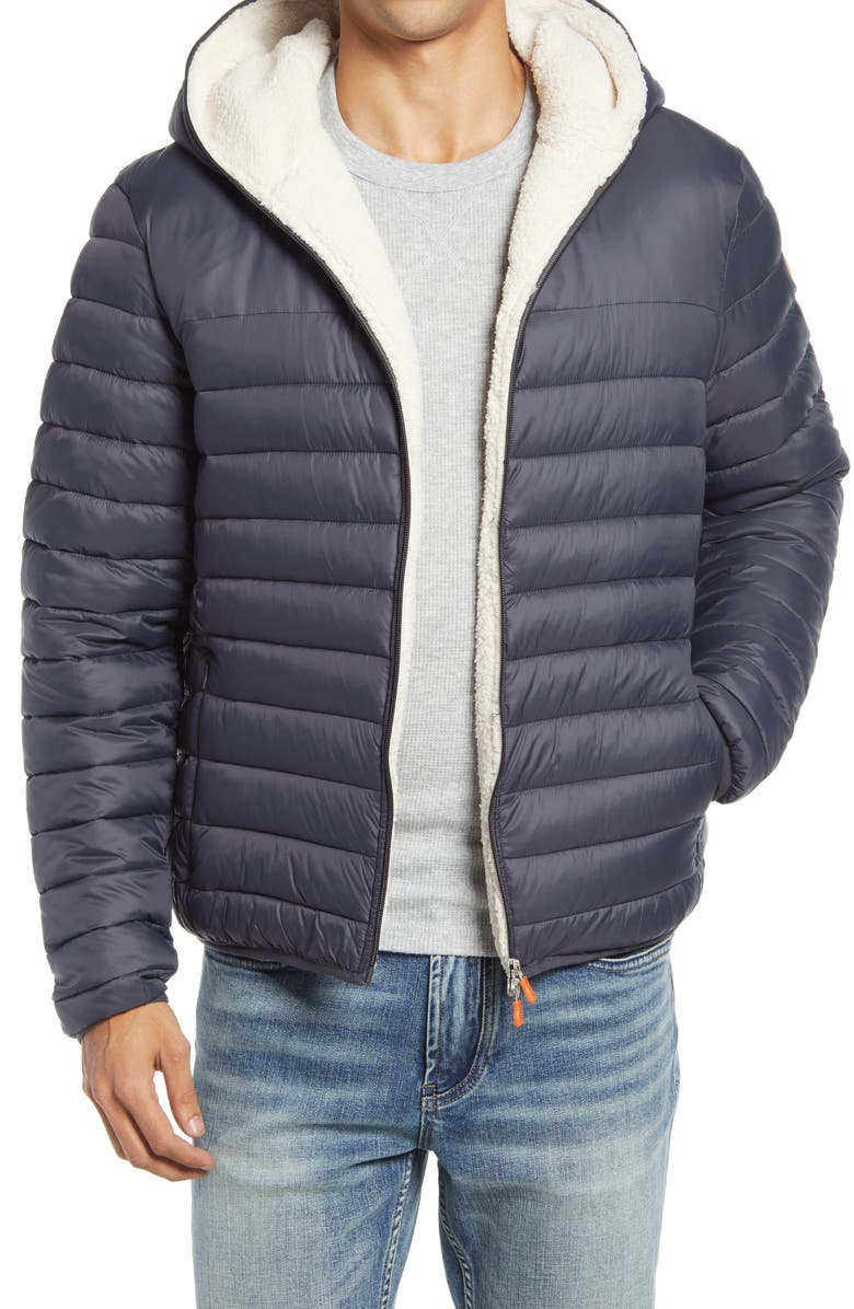 SAVE THE DUCK GIGA Waterproof Faux Shearling Lined Puffer Jacket, Main, color, GREY BLACK