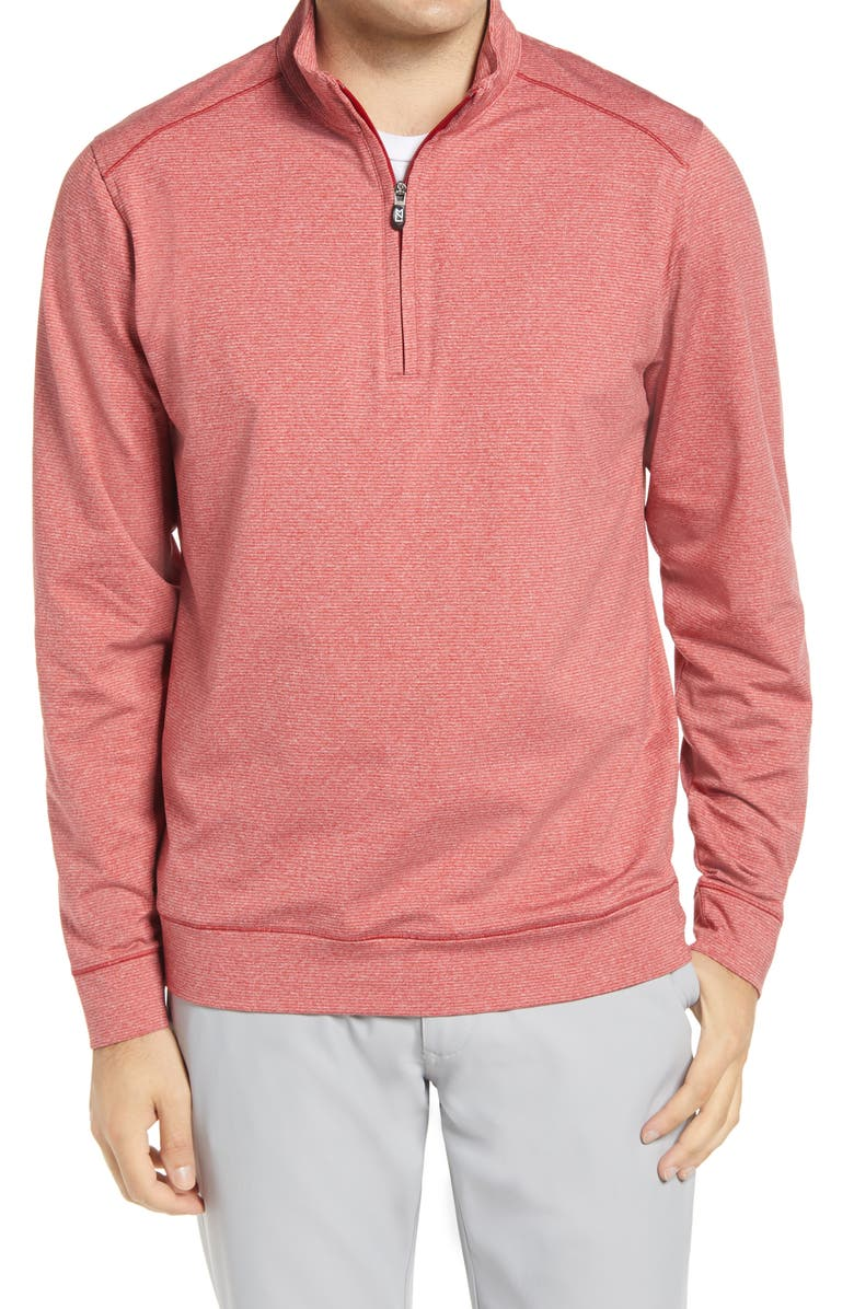 CUTTER & BUCK Shoreline Quarter Zip Pullover, Main, color, CARDINAL RED HEATHER
