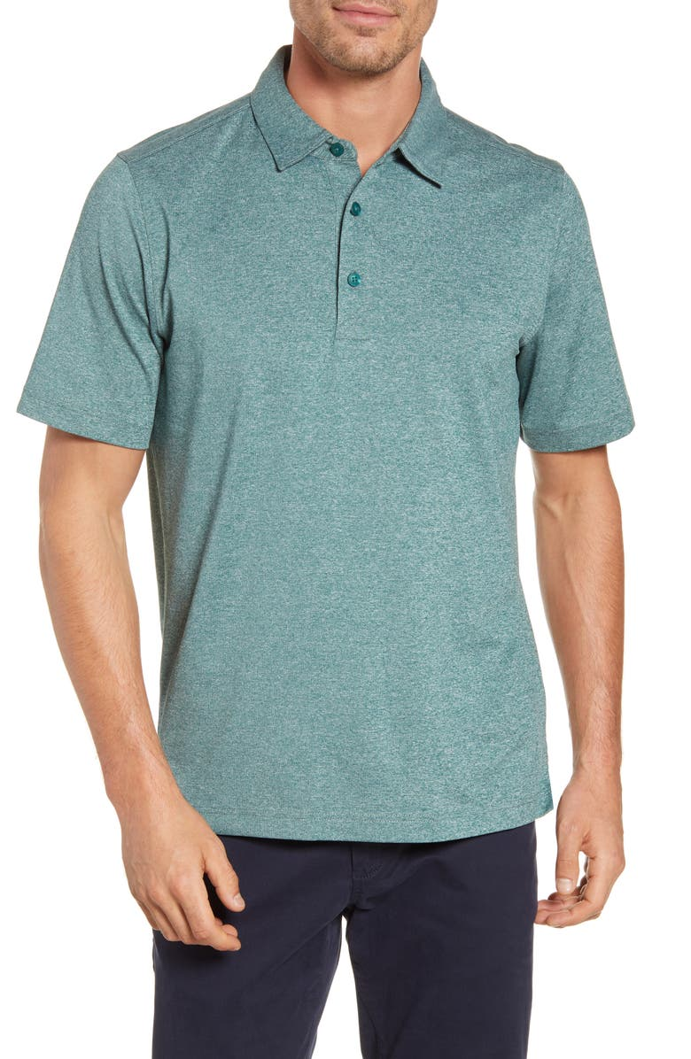 CUTTER & BUCK Forge DryTec Heathered Performance Polo, Main, color, SEAWEED HEATHER