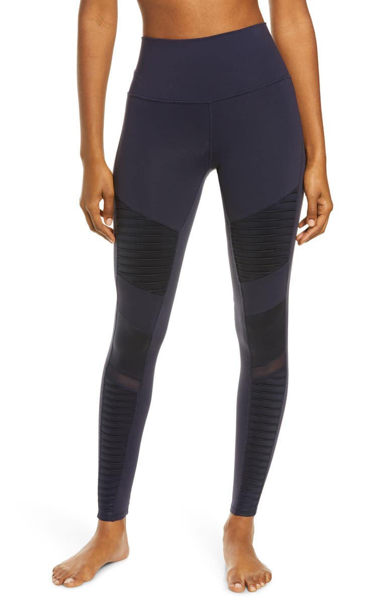 ALO High Waist Moto Leggings, Main, color, DARK NAVY