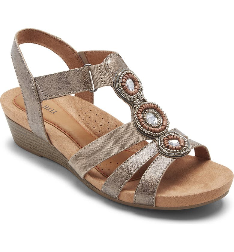 ROCKPORT COBB HILL Hollywood T-Strap Sandal, Main, color, WHITE/ METALLIC LEATHER
