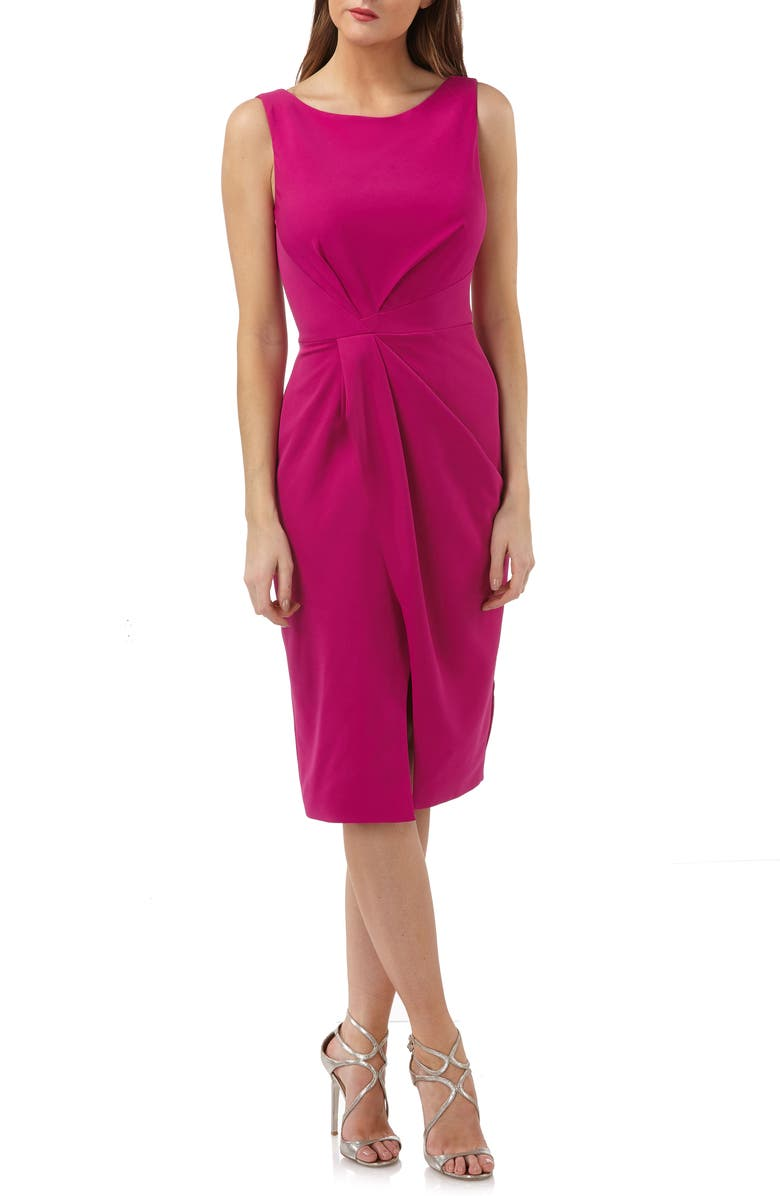 JS COLLECTIONS Pleated Crepe Cocktail Dress, Main, color, FUCHSIA
