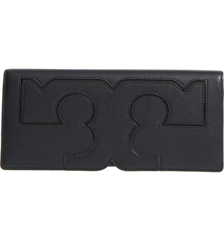 TORY BURCH Serif Leather Clutch, Main, color, 001