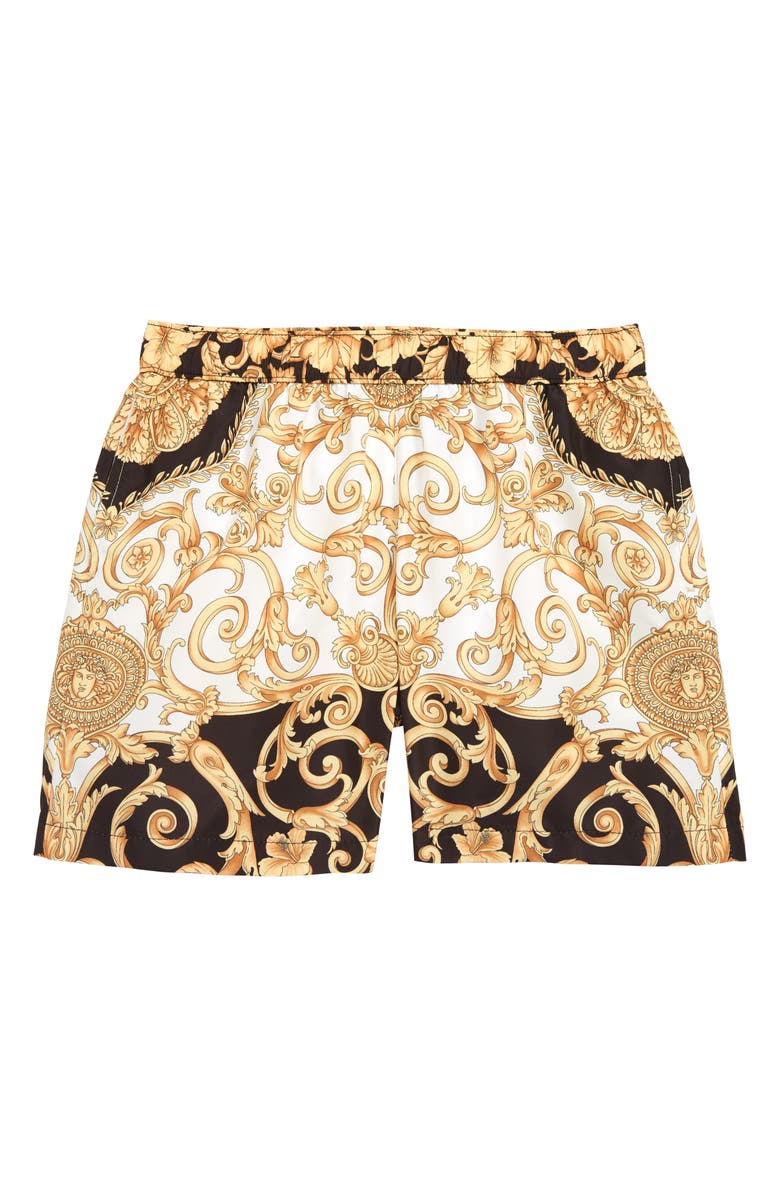 VERSACE Barocco Swim Trunks, Main, color, 100