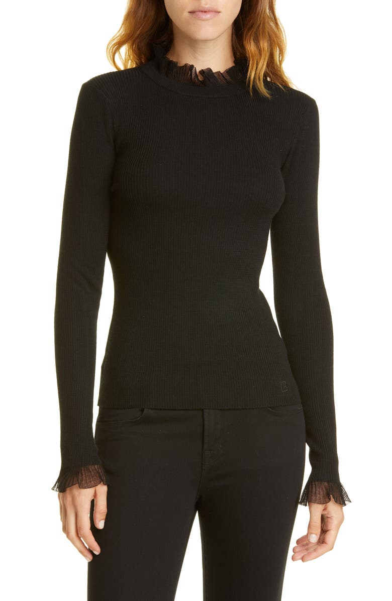 TED BAKER LONDON Frill Trim Sweater, Main, color, 001