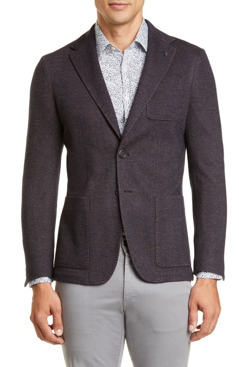 CANALI Classic Fit Plaid Knit Cotton & Wool Sport Coat, Main, color, 200