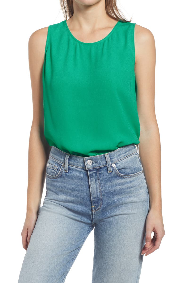 HALOGEN<SUP>®</SUP> Scoop Neck Woven Shell, Main, color, GREEN ARCADIA