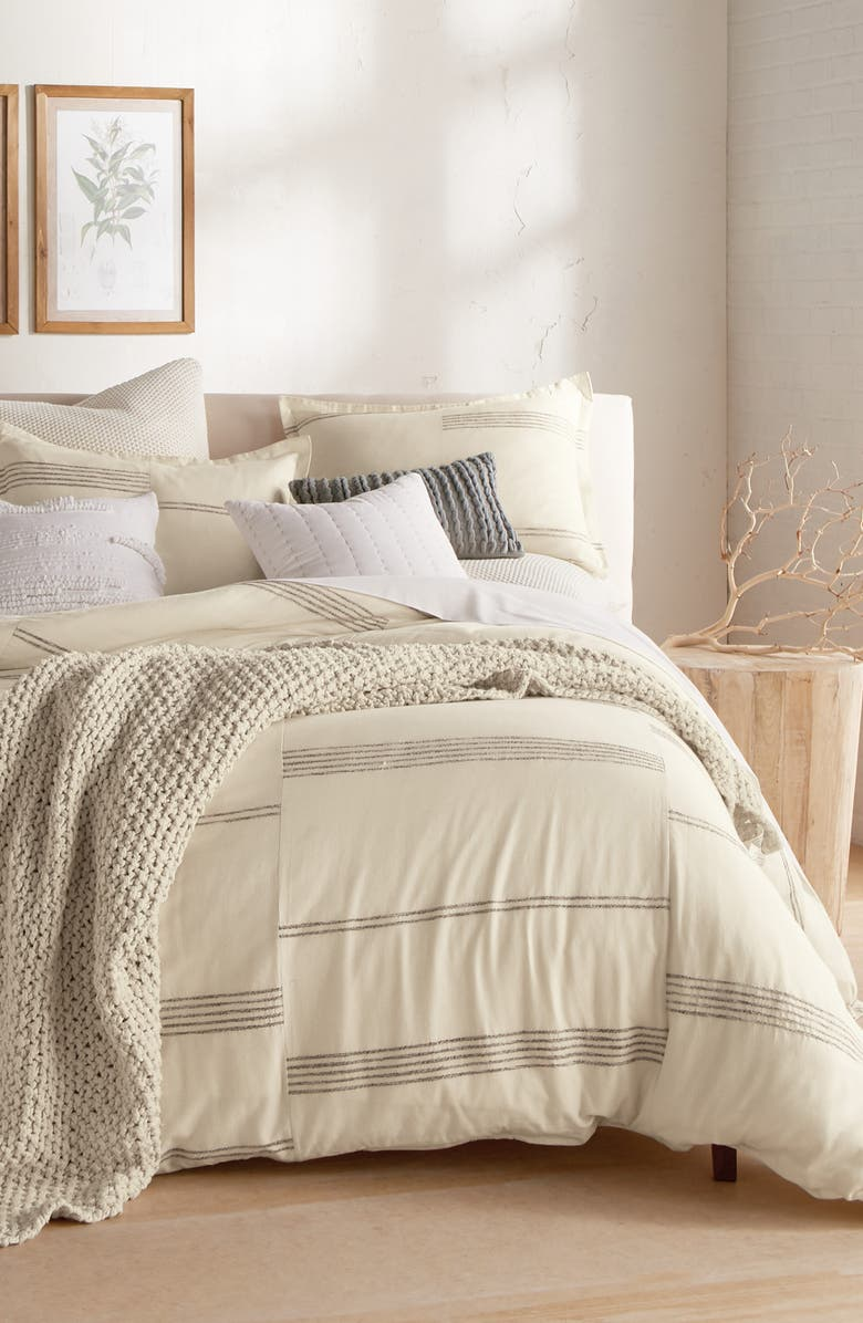 DKNY Marled Stripe Duvet Cover & Sham Set, Main, color, NATURAL