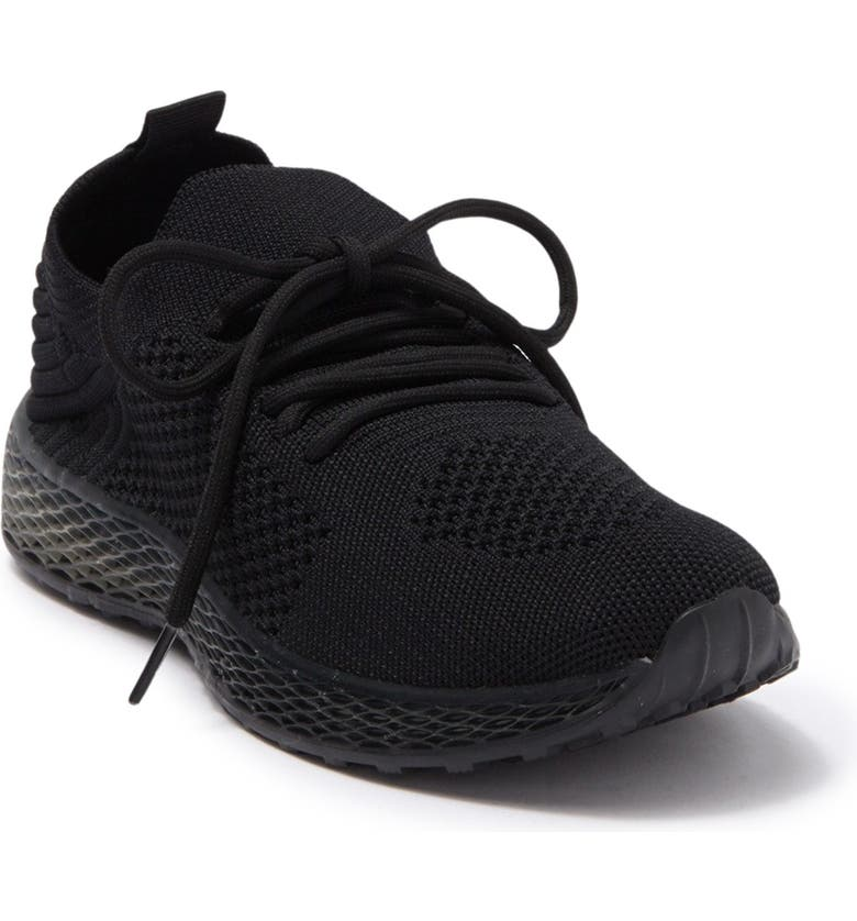 WANTED FOOTWEAR Knit Lace-Up Sneaker, Main, color, BLACK