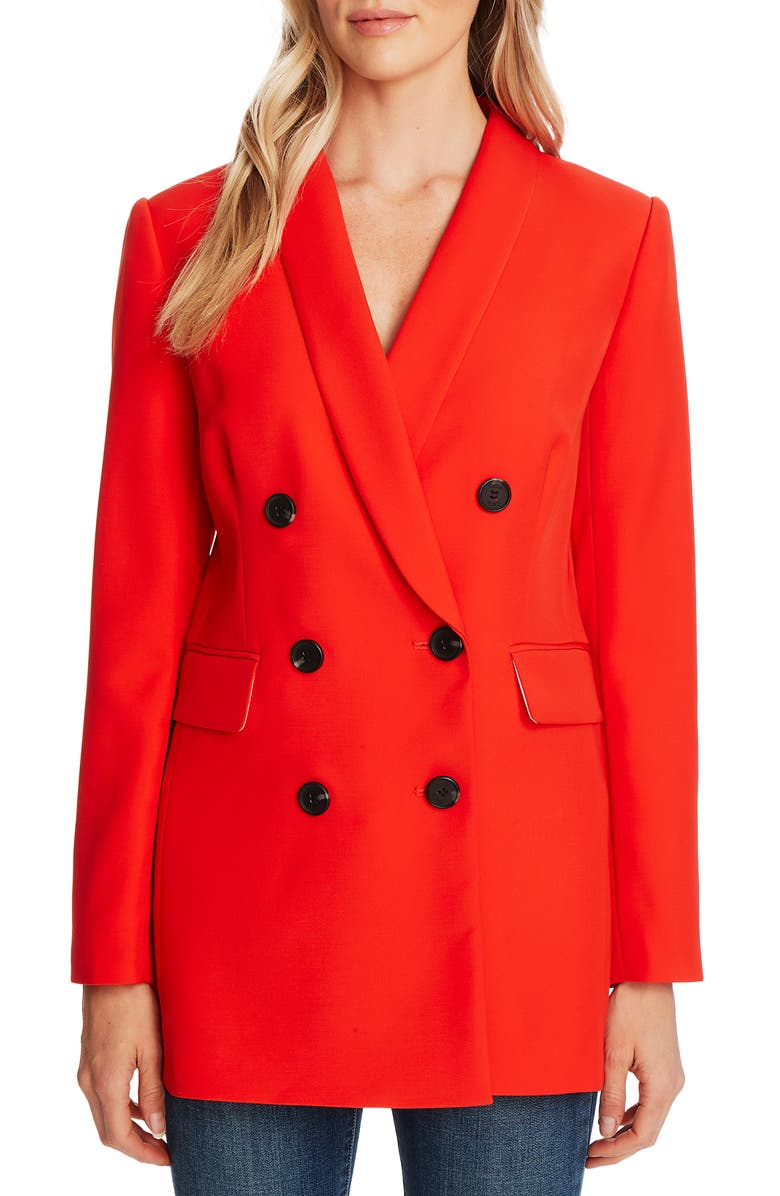 CECE Double Breasted Twill Blazer, Main, color, CANDY APPLE