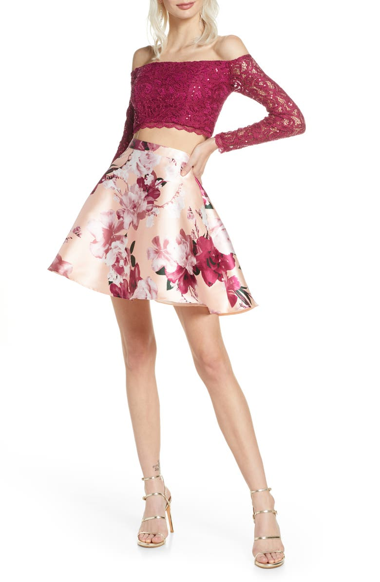 SEQUIN HEARTS Sequin Lace & Mikado Long Sleeve Two-Piece Dress, Main, color, 690