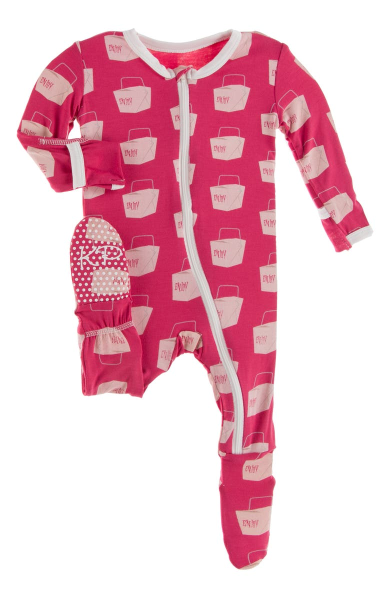KICKEE PANTS Takeout Print Fitted One-Piece Pajamas, Main, color, CHERRY PIE TAKEOUT