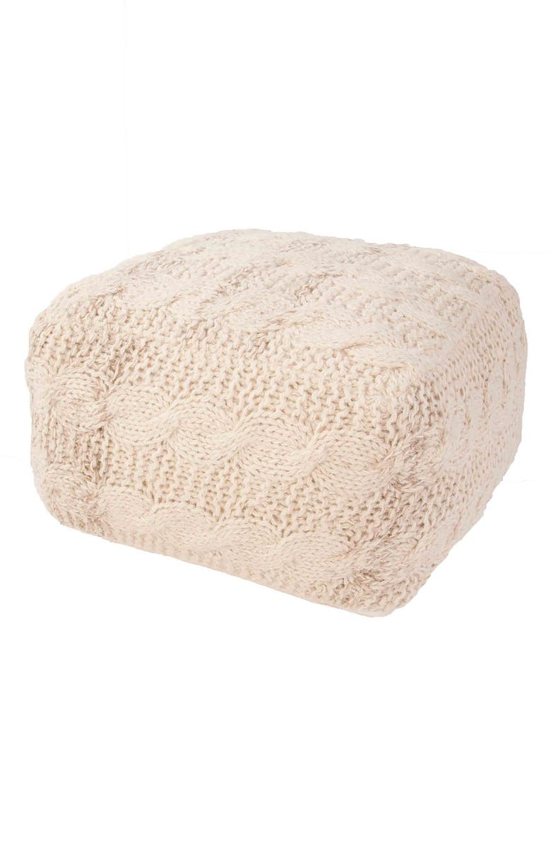 JAIPUR Wool Cable Knit Pouf, Main, color, CREAM/ CREAM