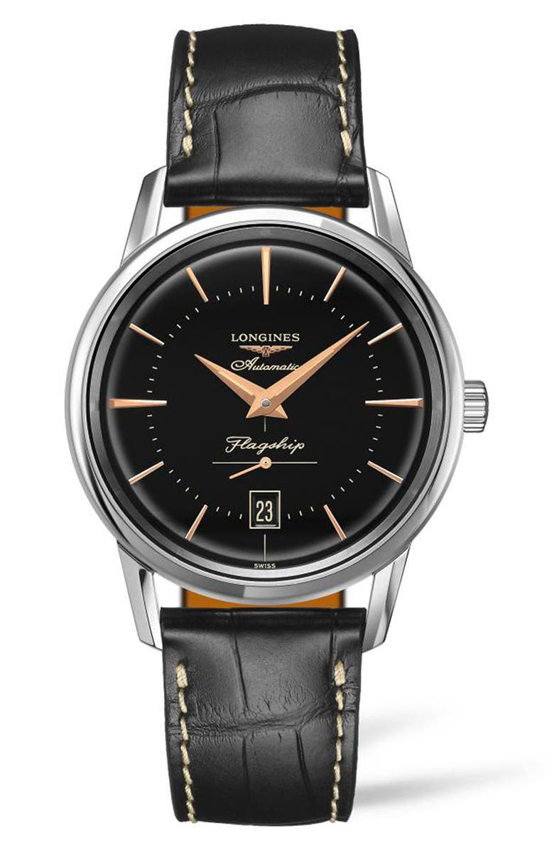 LONGINES Flagship Heritage Automatic Leather Strap Watch, 38.5mm, Main, color, BLACK/ SILVER