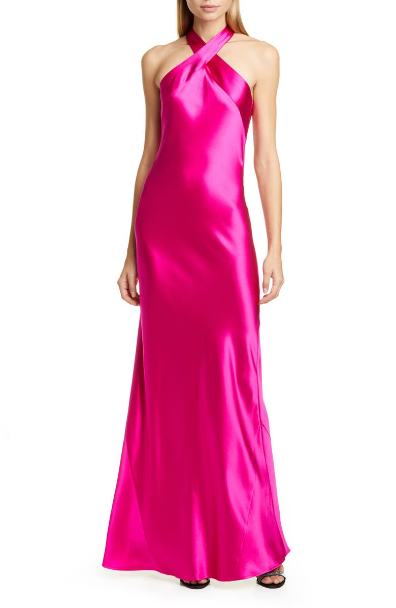 GALVAN The Eve Halter Neck Silk Gown, Main, color, 651