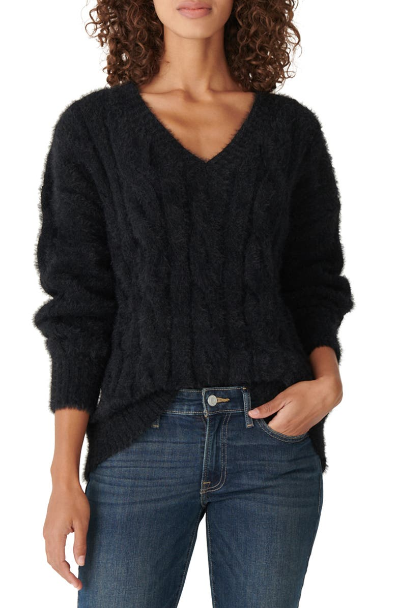 LUCKY BRAND Eyelash Cable Sweater, Main, color, LUCKY BLACK