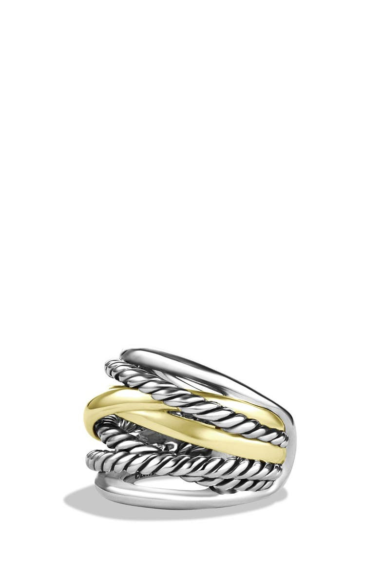 DAVID YURMAN Crossover Wide Ring with Gold, Main, color, STERLING SILVER/ 14K GOLD
