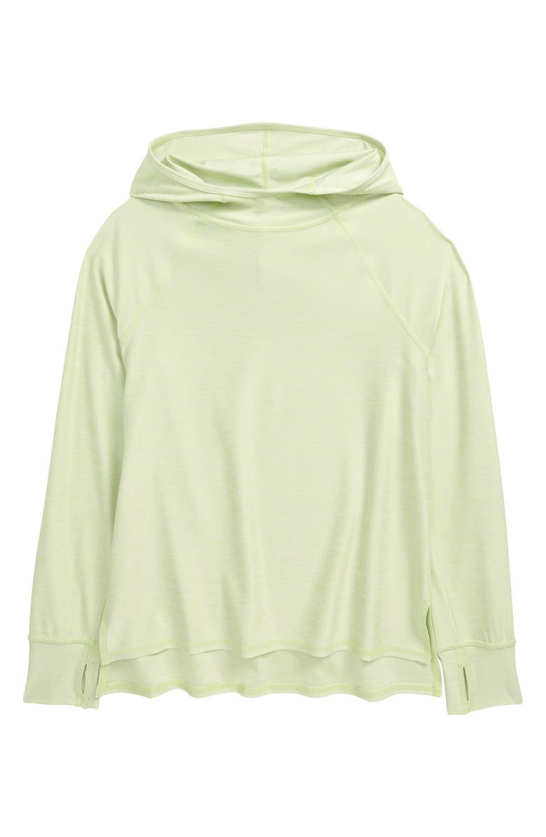 ZELLA GIRL Kids' Long Sleeve Hooded Pullover, Main, color, GREEN BUTTERFLY