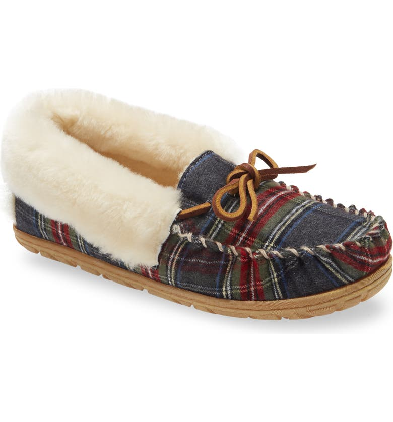 L.L.BEAN Wicked Good Genuine Shearling Plaid Moccasin Slipper, Main, color, GRAY STEWART