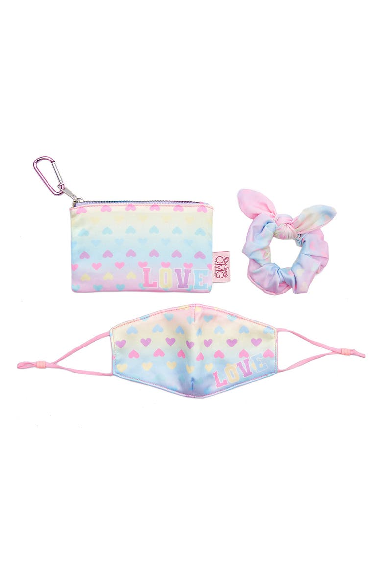 OMG ACCESSORIES OMG Kids' Love & Hearts Face Mask, Scrunchie & Pouch Set, Main, color, PINK