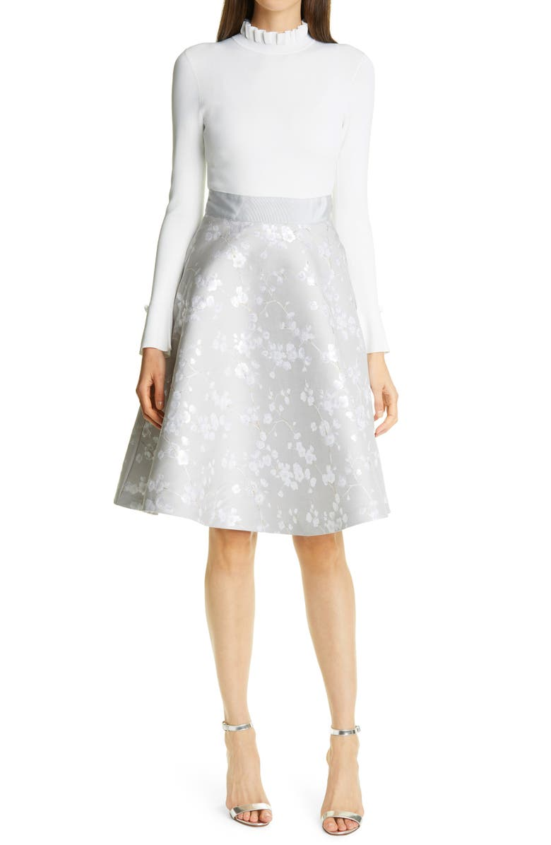 TED BAKER LONDON Aldara Blossom Metallic Jacquard Mixed Media Long Sleeve Dress, Main, color, WHITE