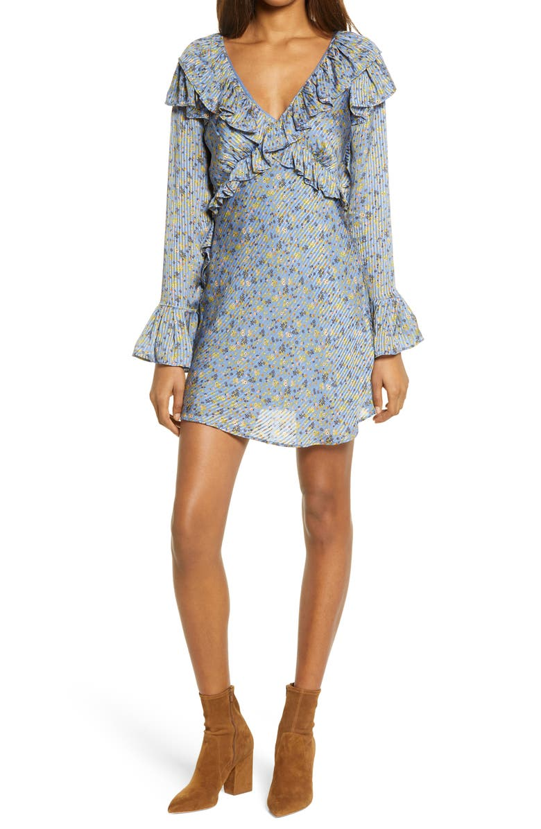 FREE PEOPLE Sweetest Thing Long Sleeve Minidress, Main, color, MIDNIGHT COWBOY