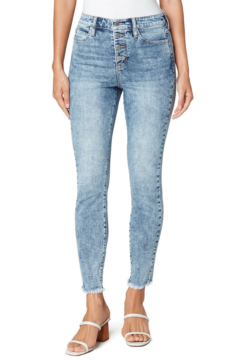 LIVERPOOL LOS ANGELES Abby Button Fly High Waist Ankle Skinny Jeans, Main, color, NORTHWOOD