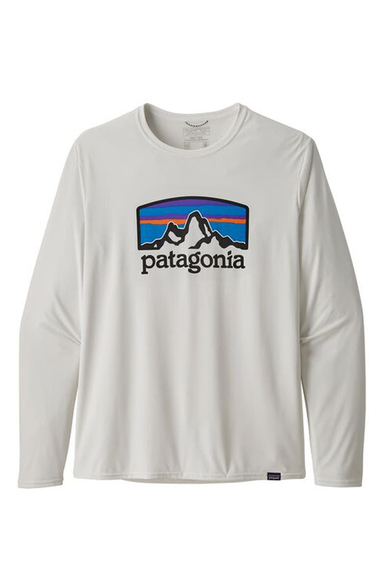 PATAGONIA Capilene<sup>®</sup> Cool Daily Long Sleeve T-Shirt, Main, color, FITZ ROY HORIZONS WHITE