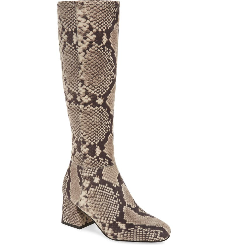 STEVE MADDEN Dexie Block Heel Tall Boot, Main, color, NATURAL SNAKE PRINT