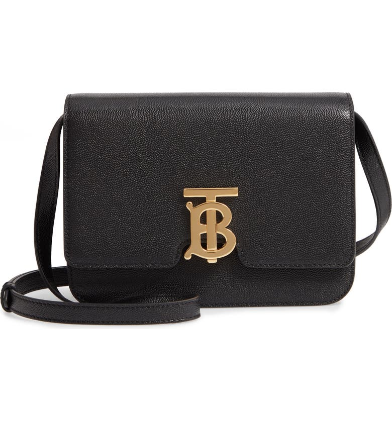 BURBERRY Small TB Grainy Leather Bag, Main, color, Black