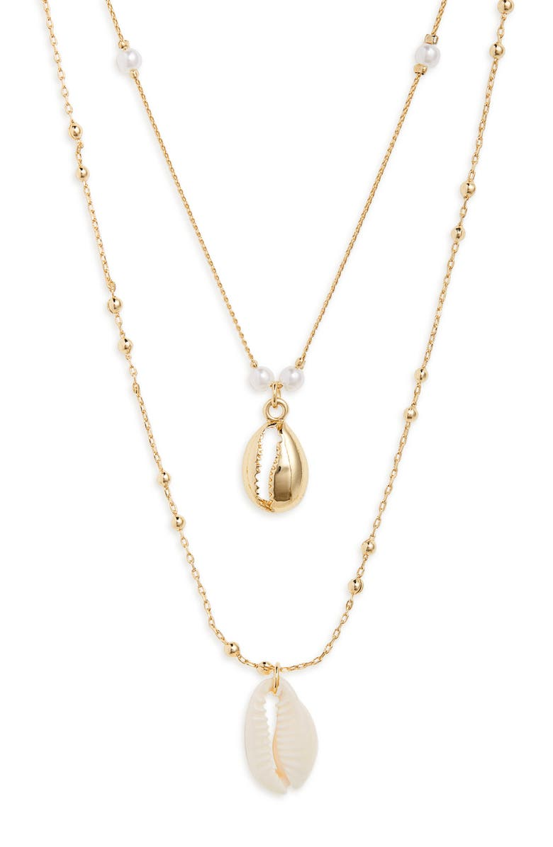 BP. Double Layer Shell Necklace, Main, color, WHITE- GOLD